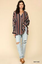 SML GIGIO by UMGEE NAVY Multi Striped V-Neck Side Slits Tunic Top/Blouse BHCS