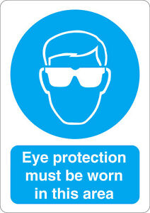 Eye protection must be worn in this area mandatory safety sign sticker A5 size