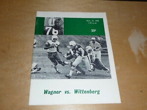 1968 WITTENBERG (OHIO) AT WAGNER (NY) COLLEGE FOOTBALL PROGRAM EX-MINT