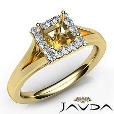 Yellow Gold Engagement Semi Mount Ring 0.2Ct Halo Prong Princess Diamond 18k