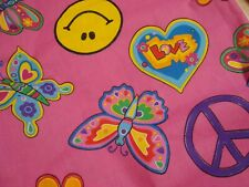 VTG One Yd 70s MOD Fabric PEACE Rainbow Quilt Craft Pink Sparkle 60