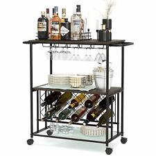 Bar Cart, Industrial Kitchen Serving Cart w/Brake Wheels, Handle, Metal Frame