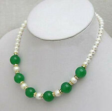 Genuine White Pearl Green Jade Beads Yellow Gold Plated Crystal Clasp Necklace