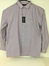 Knight Hood Formal Dress Shirt Mens size 42 Relaxed Fit Easy Care Purple Striped