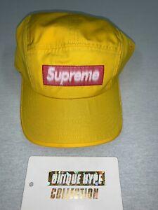 SUPREME 2021 S/S REVERSE LABEL CAMP CAP BOX LOGO YELLOW HAT 5 6 PANEL