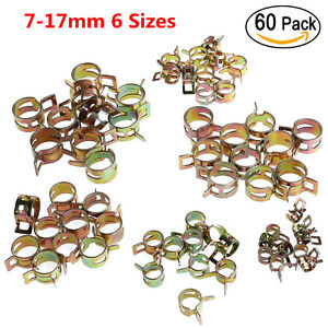 60pc 6 Sizes 7-17mm Car Spring Clip Fuel Oil Water Hose Pipe Tube Clamp Fastener