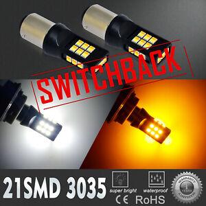 LED 2-Color Switchback Front Turns Signal Bulb For 99-2000 Honda Civic,Flashback