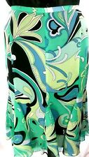 KAREN KANE Nwot Women 8 Turquoise/Blk/Wht Silk Georgette Print Gored Flare Skirt