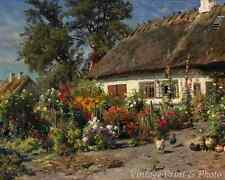 A Cottage Garden by Peder Mork Monsted Art Flowers Country Hens 8x10 Print 1028