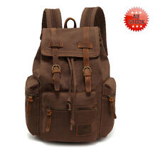 Men's Vintage Canvas Travel Hiking Backpack Rucksack Satchel shoulders Bag