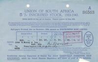 Union of South Africa Inscribed Stock Dec. 1928 Half Yr Dividend Receipt Rf45998