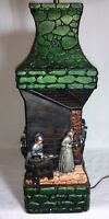 Chalkware Lamp Light Vintage 1977 Continental Studio 3 Dimensional Rustic Scene