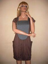Longshirt,Minikleid,Tunika,Gr.L,Braun-Grau,2 Taschen,Vintage,Boho.Hippie,Empire
