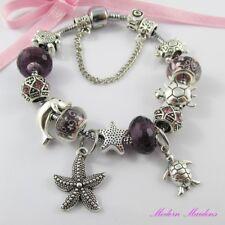 Purple Marine European Snake Chain Bracelet 13 Beads & Charms 20cm Safety Chain