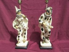 Pair Of Large 1950's Vintage MCM Hollywood Regency Marbro Harlequin Jester Lamps