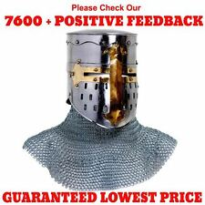 Medieval Knights Crusader Templar Helmet w/ Butted Aluminium Chainmail Coif Hood