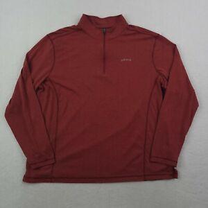 Orvis 1/4 Zip Shirt Mens XL Red Silver Lightweight Outdoors Camping Hiking