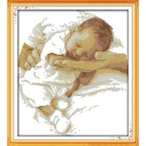 Sleeping Baby Boy Girl Birth Sampler Unisex Counted Cross Stitch Kit Joy Sunday