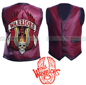 The Warriors Movie Leather Vest Costume Mens Biker Fashion Vintage Jacket