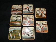 Vintage Coasters Lipizzaner Horses Set Of 8 Wooden Mid Century Modern Excellent