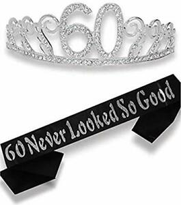 60th Birthday Gifts for Women 60th Birthday Tiara and Sash Silver HAPPY 60th_New