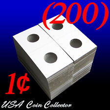 (200) Penny Size 2x2 Mylar Cardboard Coin Flip for Storage | 1 Cent Paper Holder