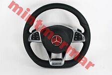 MERCEDES BENZ W176 W246 W205 C218 AMG LEATHER MLF SHIFT PADDLES STEERING WHEEL