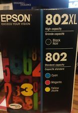 GENUINE 4-PACK Epson 802XL BLACK & 802 COLOR INK  Exp 12/2021