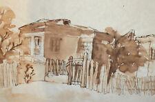 Vintage modernist watercolor painting landscape old house