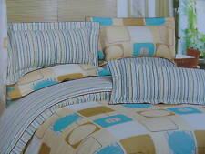 Kids Cotton Cream&Turqoise Duvet Cover Sheet Set Queen Size Yellow Blue Stripe