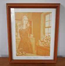 """Vintage 70s Anne Tuttle Original Ltd Edition Lithograph Etching """"Golden Apples"""""""