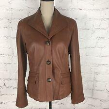 Jones New York Women's Brown Leather Coat Button Down Classic Lined Jacket Sz L