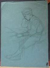 Dessin Ancien Fusain LUCIEN OTT Portrait de Marcel pendant la guerre (1916) LO6