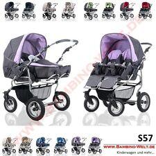 Buggy Kombi Kinderwagen für Zwillinge Geschwister Zweisitzer Twin Duo Scen 1EB