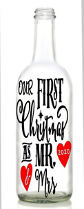 Vinyl Decal OUR FIRST 1ST CHRISTMAS AS MR&MRS  MR&MR MRS&MRS For wine bottle