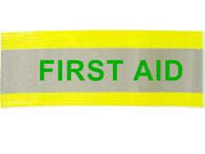 "XL Hi Visibility Reflective Yellow Armband Printed FIRST AID 20"" x 5"" Adjustable"