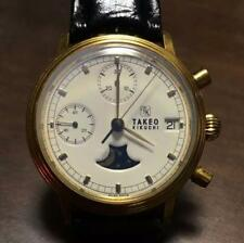 Takeo Kikuchi Moon phase analog wrist watch very rare men Brand Fortune Japan