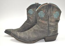 Lucchese Diva Ladies Western Boots 9B Limited Edition DV3001 black gray blue