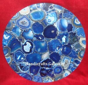 Decorative Gorgeous Agate Stone Table Tops, Handmade Blue Agate Coffee Table Top