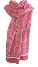 Anokhi Pink Fan Cotton Scarf with Beaded Ends and Gold Stamping