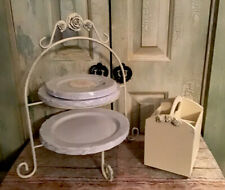 White 2 Tier Plate Stand Holder And Utensils Holder With Shabby Roses