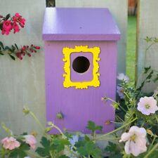 Friends inspired purple door and yellow frame wooden bird house nesting box.