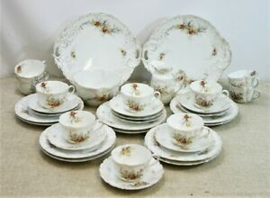 Pretty Victorian Floral Thirty Four Piece Tea Set  - Unmarked - Thames Hospice
