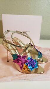 Sophia Webster Rose Gold Hula Floral Embellished Crisscross Sandals Size 40 m