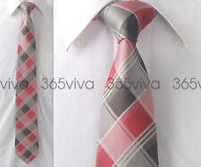 Red Gay Plaid Checkers Men Handmade 100% Woven Silk 8 cm nch Wedding Neck Tie