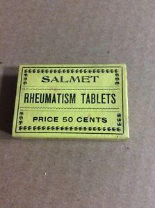 PRE 1910 ANTIQUE APOTHECARY MEDICINE ADVERTISING #24- Salmet Rheumatism Tablets