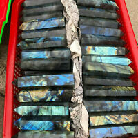 Top! 2.2LB Natural Labradorite Quartz Crystal obelisk Point Healing Wand Healing