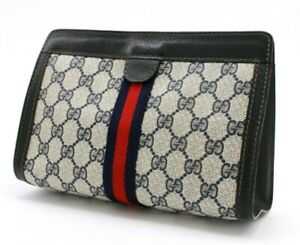 【Rank A】 Authentic Gucci Sherry GG Supreme Clutch Hand Bag Second Small Vintage