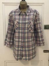 Lovely AUTOGRAPH M&S Cotton Mix Pink Check Button Down Shirt Top Plus Size 22
