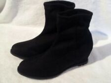 JOHN LEWIS - NEW - Faux Suede Black Isla Wedge Heel Ankle Boots - Size 3
